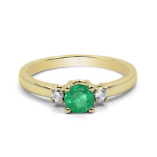 Emerald Engagement Three-Stone Yellow Gold Fine Rings