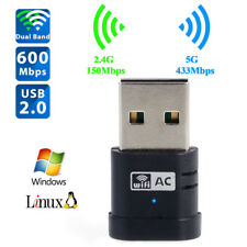 600Mbps Dual Band 2.4/5G Wireless USB Wifi Network Adapter for Desktop PC Laptop