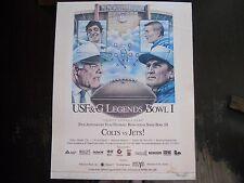 Rare Vintage Joe Namath Johnny Unitas USF&G Legends Bowl 1 Colts vs Jets Poster