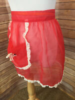 Vintage Red Sheer Short Half Apron Lace Trim Waist Tieback Front Pocket