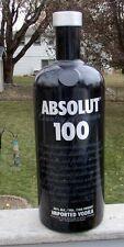 """HUGE ABSOLUT 100 VODKA GLASS DISPLAY BOTTLE 20"""" TALL BLACK"""