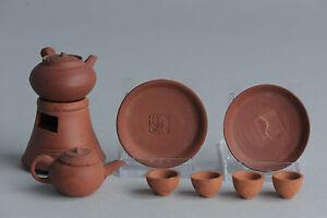 Chinese Red Clay Miniature Dollhouse Shantou Yixing Zuni Zisha Teapot Mark Qing
