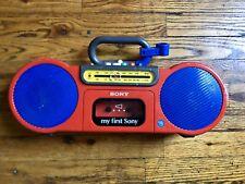 *BROKEN* My First Sony CFS-2020 AM/FM Cassette Boom Box Radio Aux RARE Boombox