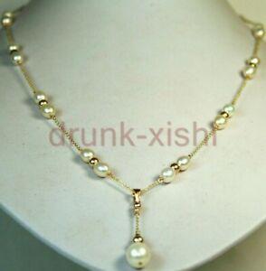 "Natural AAAA Akoya White Pearl Elegant Necklace 18"" + pendant 14K Gokd P Clasp"
