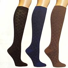 Dr. Motion Mild Compression 8-15mmHg Knee-Hi Women's Socks, 3 Pairs