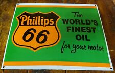 PHILLIPS 66 THE WORLD'S FINEST OIL FOR MOTOR GREEN ORANGE PORCELAIN ENAMEL SIGN