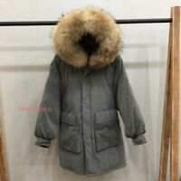 Womens Winter Warm Real Raccoon Fur Hooded Duck Down Jacket Puffer Coat Parka