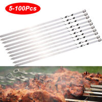 Metal BBQ Skewers Flat Barbecue Meat Vegetable Kebab Shish Kitchen Grill Cook US