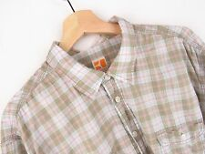 JY2780 BOSS ORANGE SHIRT TOP ORIGINAL PREMIUM CHECKED BEIGE COTTON size 3XL