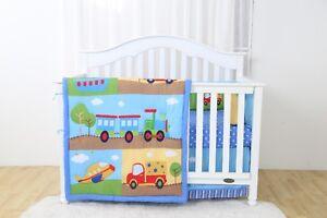 4 Piece Choo Choo Train Baby Nursery Crib Bedding Set
