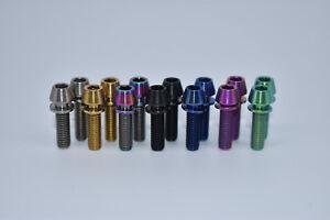 M5x18mm Titanium Ti Bike Stem Bolts Taper Head Bicycle Conical With Washers 2pcs