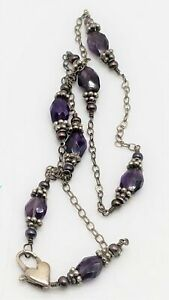 """925 Silver Amethyst Heart Clasp Necklace 16"""" 10.3g AET392"""