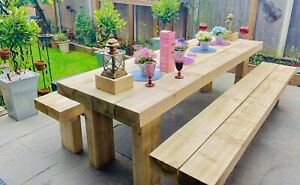 Sleeper table & benches. We can design & build in your garden! Anything timber!