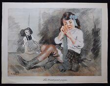 Tancrède SYNAVE (1870-1936) Enfant poupée Guerre Affiche 1915 alsace lorraine