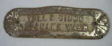 TULL & GIBBS SPOKANE WASHINGTON CAST IRON STOVE DOOR NAME PLATE ANTIQUE