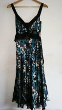 MONSOON SILK BLACK TEAL TURQUOISE SILVER SLEEVELESS LINED DRESS Size 10