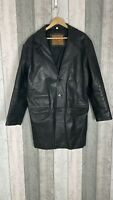 Paragon 100% Leather Men's Black Button Through Long Trench Coat Size L *FLAWS*