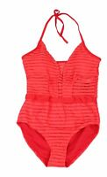 Designer Brand Womens Swimwear Red Size XL Striped Mesh Inset Swimsuit $40- 840