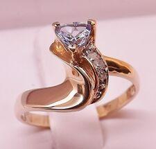 UNIQUE 10kt YELLOW GOLD 1/2 cttw TRILLION CUT TANZANITE & DIAMOND RING Size 7.5