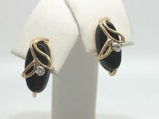 10K YELLOW GOLD BLACK ONYX EARRINGS WITH GENUINE DIAMOND ACCENT