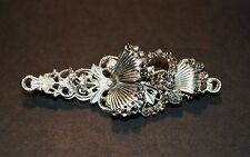 Vintage Silver Tone Signed Miriam Haskell Fan Design Rhinestone Brooch Pin