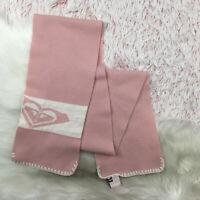 Roxy Womens Heart Logo Neck Scarf Pink Ivory Stitched Soft Knit Winter Ski Snow