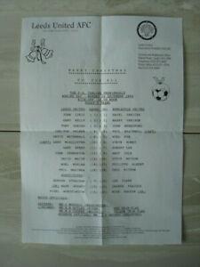 Leeds United v Newcastle United - Official TEAM SHEET - Premiership 26/12/1994