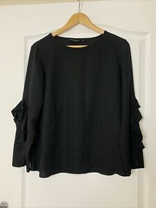 Dorothy Perkins Black Long Sleeve Blouse with Frill Sleeves Detail Size 12 VGC