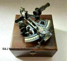 Nautical Table Top Brass Sextant Maritime with wooden box Vintage Solid Gift