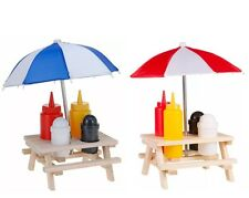 NEW CONDIMENT HOLDER PICNIC SAUCES WOODEN BENCH UMBRELLA SET SALT PEPPER OUTDOOR