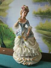 """ANTIQUE CAPODIMONTE SAN MARCO LADY FIGURINE LACE AND FLOWERS 8"""""""