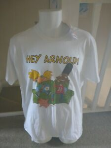 """Official Nickelodeon Nick '90s Hey Arnold """"Couch Potato"""" White T-Shirt (Size L)"""