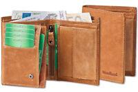 Woodland® Geldbörse in Hellbraun aus naturbelassenem Leder im Vintage Look