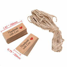 100x Kraft Paper HANDMADE WITH LOVE Gift Tags Rustic Wedding Favor Tag Label