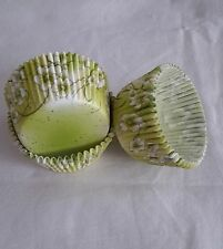 100 white floral green cupcake liners baking paper cup muffin case standard size