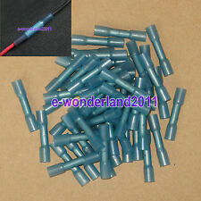 50pcs Blue 16-14AWG DuraSeal Heat Shrink Butt Splice Connector Terminals Splices