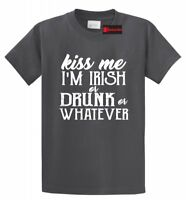 Kiss Me I'm Irish Drunk Whatever Funny T Shirt St Patty's Beer Party Tee S-5XL