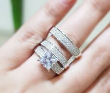 14K White Gold Over His Her Diamond Trio Wedding Set Bridal Band Engagement Ring