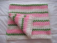 New Handmade Crochet Baby Blanket  33 x 35 Pink White & Green Garden Stripe