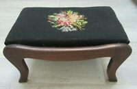 """BIG 18"""" ANTIQUE Foot Stool Ottoman Wood Country Primitive UPHOLSTERY NEEDLEPOINT"""