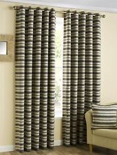 Contemporary Striped Eyelet Ready Made Curtain Pair
