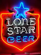 """Texas Lone Star Beer Shield Neon Light Sign 20""""x16"""" Man Cave Real Glass Bar"""
