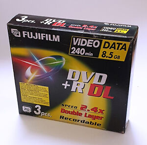 Fujifilm DVD+R Blank DVDs - 8.5GB - Double Layer - Jewel Case - 3 Pack