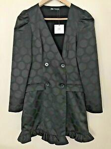 BNWT ZARA BLACK JACQUARD DOUBLE BREASTED BLAZER DRESS WITH RUFFLES SIZE XS
