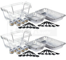 6 Full Size Disposable Buffet Catering Serving Set Chafing Dish Chafer Fuel Kit