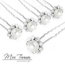 10pcs Cristallo Diamante Strass Fiore Perle perni di Capelli Clip Slide Grip Bridal