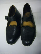 Antique Victorian Childrens Mills Shoes Embossed Leather Wood Brass Metal Studs
