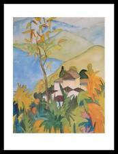 Hermann Hesse Dorf über dem See Poster Bild Kunstdruck im Alu Rahmen 71x56cm