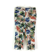 Chicos Womens sz 2 12 Palm Leaves Print Casual Cropped Pants Chino Stretch