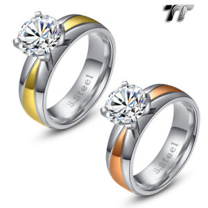 TT 6mm Two-Tone S.Steel 2 Carat Engagement Wedding Band Ring (R210) Size 6-10